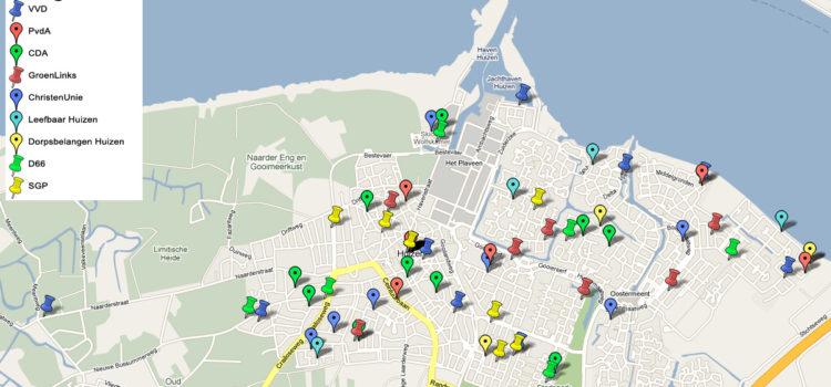 Kandidaten gemeenteraadsverkiezingen in Huizen op de kaart