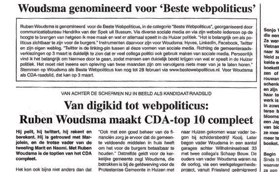 Huizer Courant, Nieuwsblad en beste webpoliticus