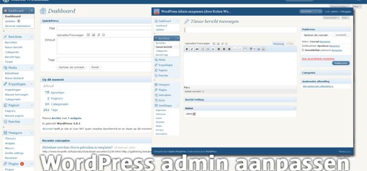 Hoe de WordPress Admin omgeving aanpassen
