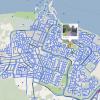 De blauwe lijnen geven aan welke straten in Huizen met streetview te bekijken zijn.