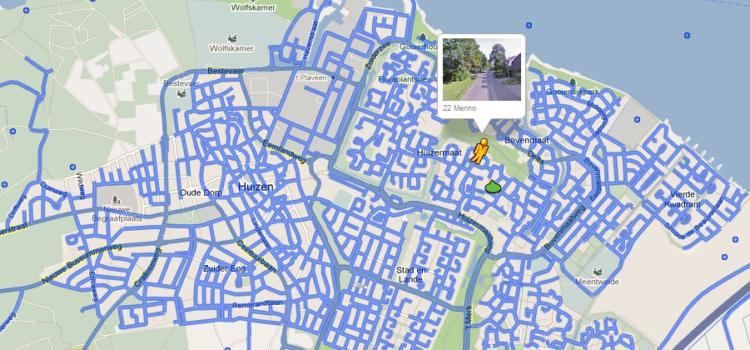 Huizen op de kaart bij Google Maps/Streetview