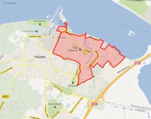 Op bovenstaande kaart is te zien dat Huizen Noord-Oost in aanmerking komt voor glasvezel.