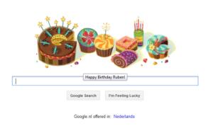 Persoonlijke verjaardagsmoodle van Google.