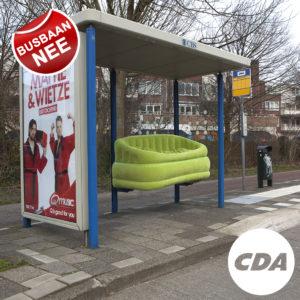 De campagnebanner waarmee CDA Huizen het standpunt duidelijk heeft gemaakt.
