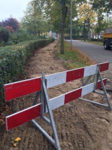 Werkzaamheden rondom verwijdering fietspaden.