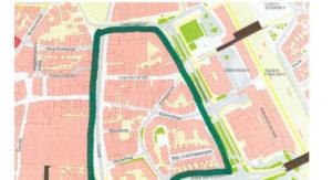 Het gebied in Hilversum waar het vuurwerkverbod van kracht is.