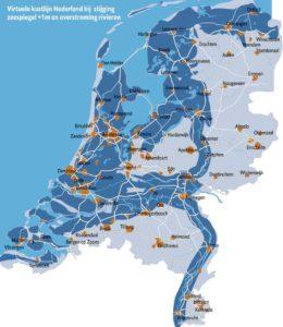 Wat gebeurd er in Nederland als de waterspiegel met 1 meter zal stijgen?