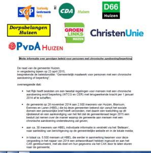 Motie 'Informatie over gevolgen beleid voor personen met chronische aandoening/beperking' van SGP mede ondertekend door CDA Huizen.