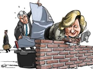 Cartoonist FrankM van de Gooi en Eemlander geeft zijn visie over de ontwikkelingen bij het Keu-gat.