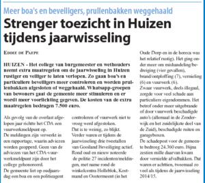 Artikel in Nieuwsblad voor Huizen over strenger toezicht tijdens jaarwisseling in Huizen. (1 oktober 2015)