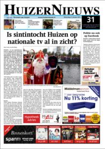 De voorpagina van HuizerNieuws van oktober 2015 waar de vraag prominent wordt weergegeven.