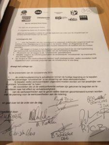 De motie infrastructuur ingediend door CDA Huizen en ondertekend door de hele gemeenteraad