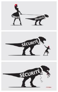 Cartoon waarin de paradox tussen 'liberté' en 'sécurité' wordt weergegeven.