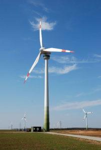 Voorbeeld van een megawindturbine in Flevoland.