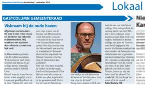 Column van Ruben Woudsma over de mogelijkheden voor een viskraam bij de haven van Huizen.