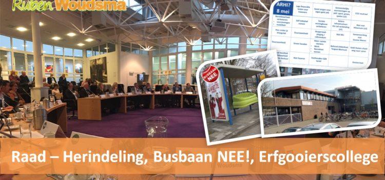 Gemeenteraad – Herindeling, Busbaan NEE, Erfgooierscollege en traktaties